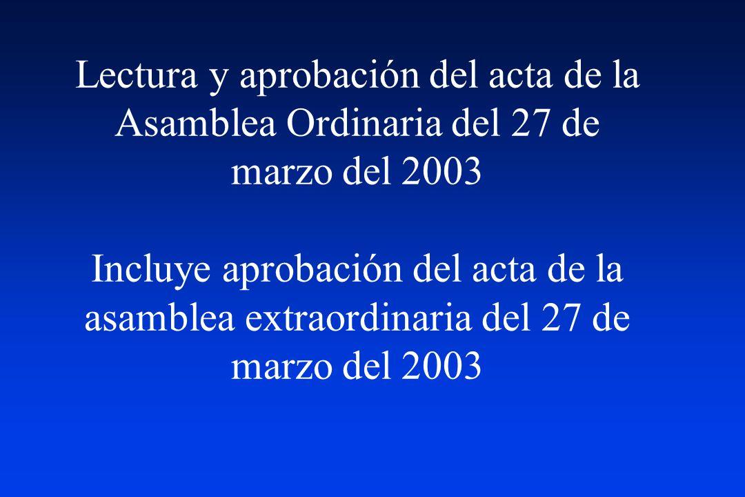 Lectura y aprobación del acta de la Asamblea Ordinaria del 27 de marzo del 2003 Incluye aprobación del acta de la asamblea extraordinaria del 27 de marzo del 2003