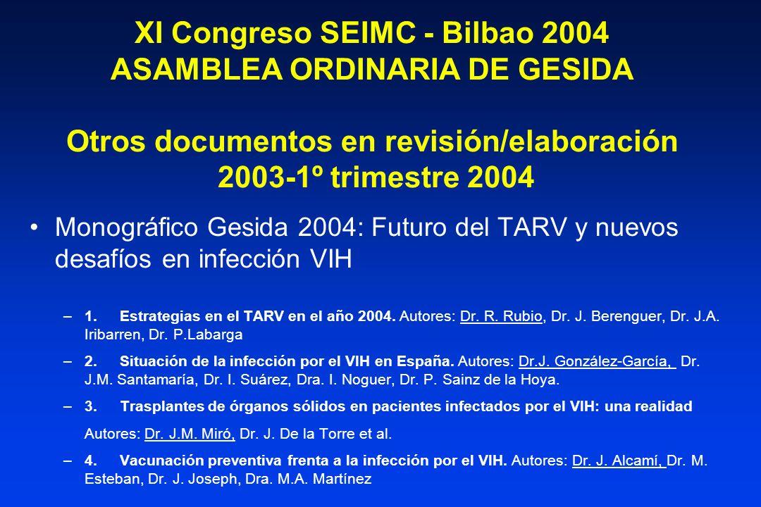 XI Congreso SEIMC - Bilbao 2004 ASAMBLEA ORDINARIA DE GESIDA Otros documentos en revisión/elaboración 2003-1º trimestre 2004