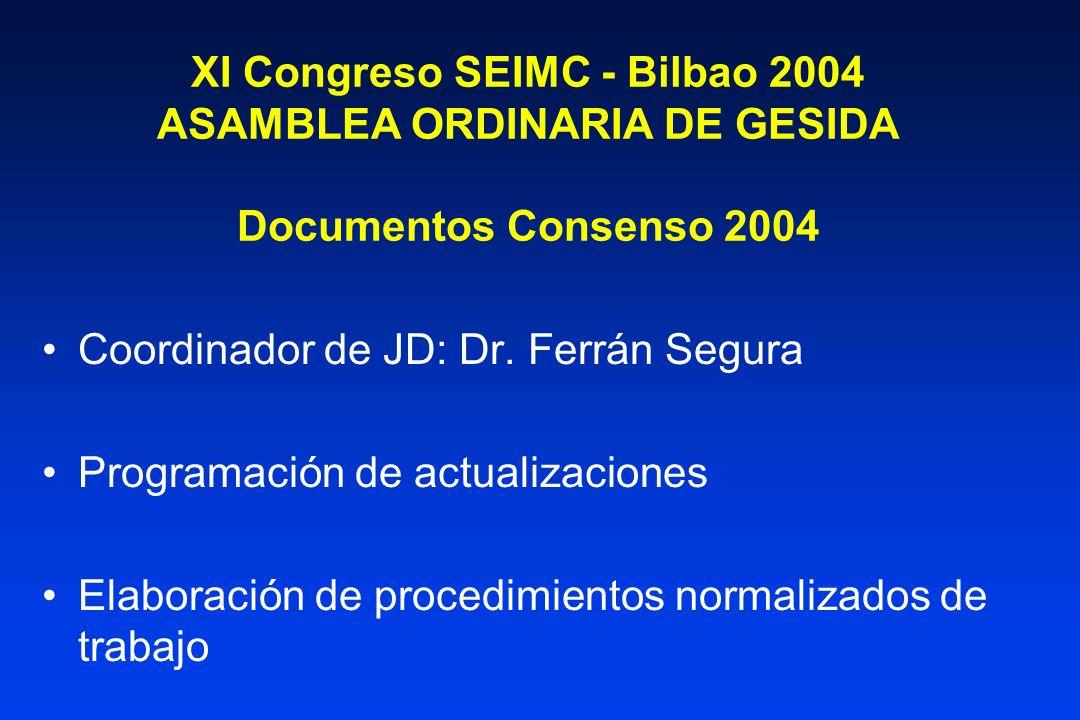XI Congreso SEIMC - Bilbao 2004 ASAMBLEA ORDINARIA DE GESIDA Documentos Consenso 2004