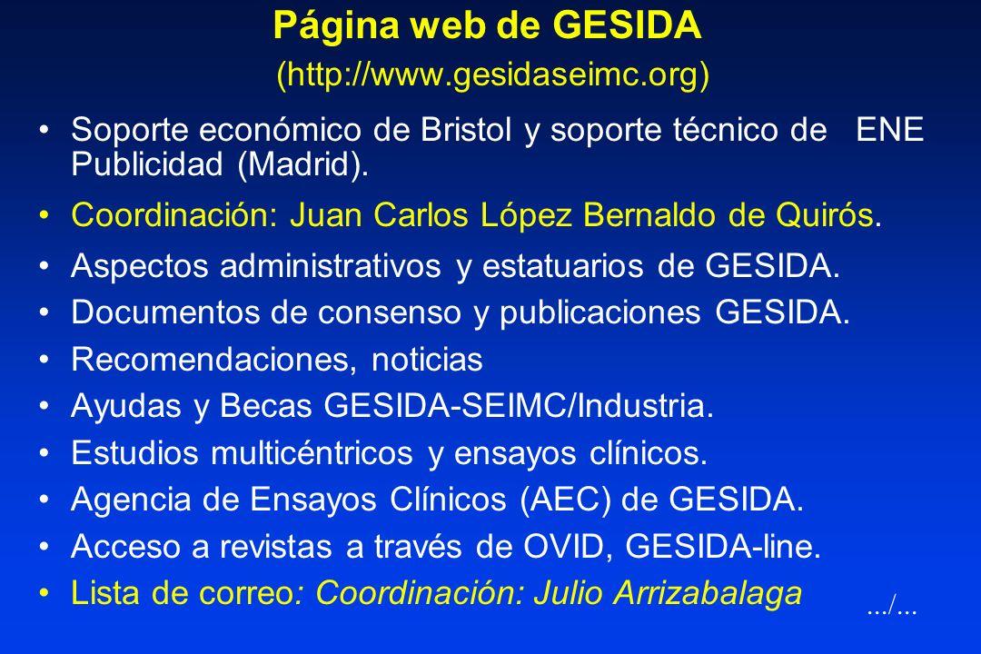 Página web de GESIDA (http://www.gesidaseimc.org)