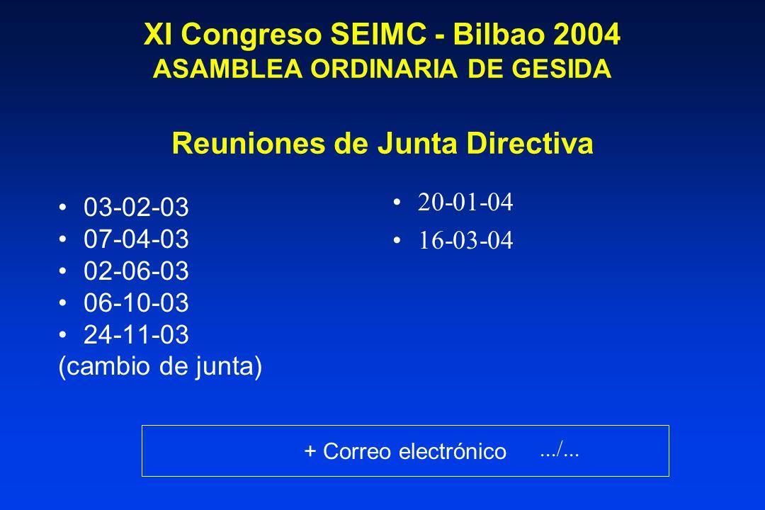 XI Congreso SEIMC - Bilbao 2004 ASAMBLEA ORDINARIA DE GESIDA Reuniones de Junta Directiva