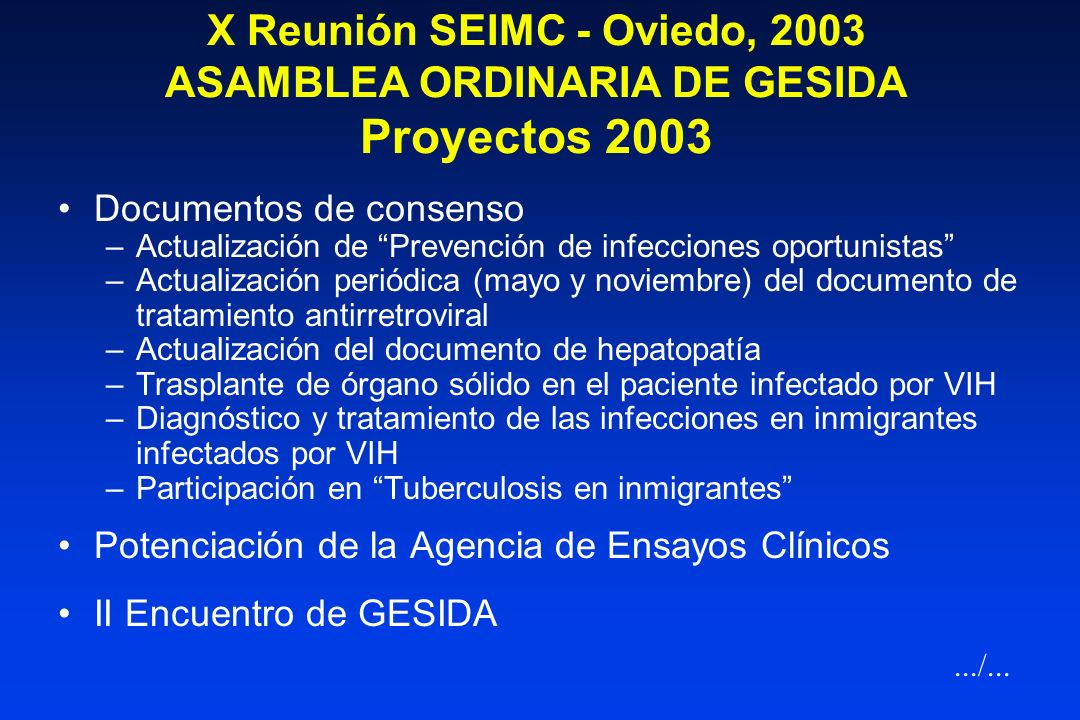 X Reunión SEIMC - Oviedo, 2003 ASAMBLEA ORDINARIA DE GESIDA Proyectos 2003