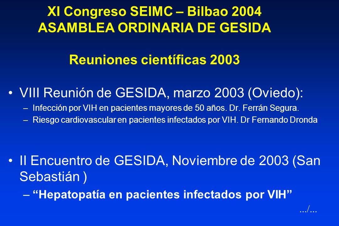 VIII Reunión de GESIDA, marzo 2003 (Oviedo):