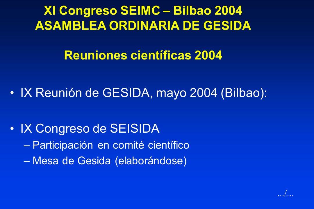 IX Reunión de GESIDA, mayo 2004 (Bilbao): IX Congreso de SEISIDA