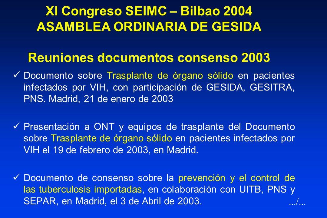 XI Congreso SEIMC – Bilbao 2004 ASAMBLEA ORDINARIA DE GESIDA Reuniones documentos consenso 2003