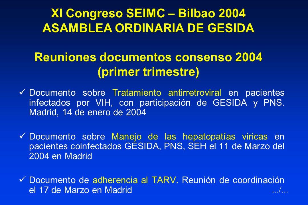 XI Congreso SEIMC – Bilbao 2004 ASAMBLEA ORDINARIA DE GESIDA Reuniones documentos consenso 2004 (primer trimestre)