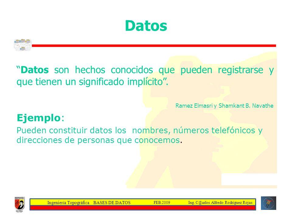 Datos Datos son hechos conocidos que pueden registrarse y que tienen un significado implícito . Ramez Elmasri y Shamkant B. Navathe.