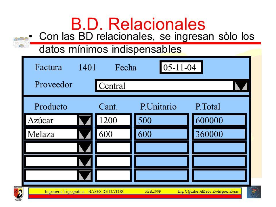 B.D. Relacionales Con las BD relacionales, se ingresan sòlo los datos mínimos indispensables. Factura.