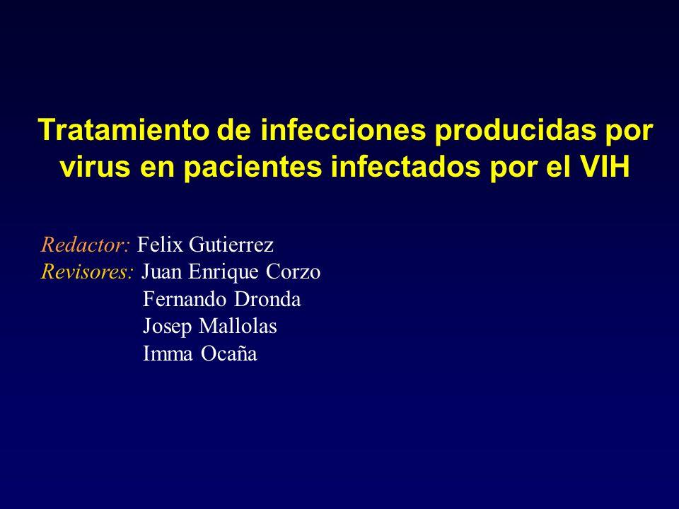 Tratamiento de infecciones producidas por virus en pacientes infectados por el VIH