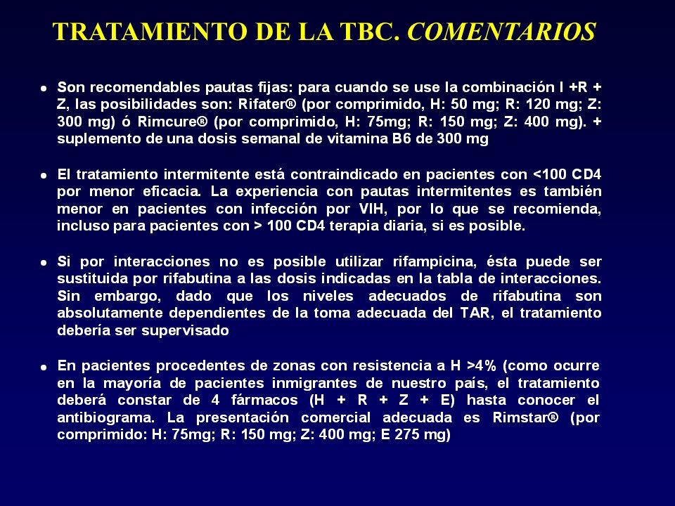 TRATAMIENTO DE LA TBC. COMENTARIOS