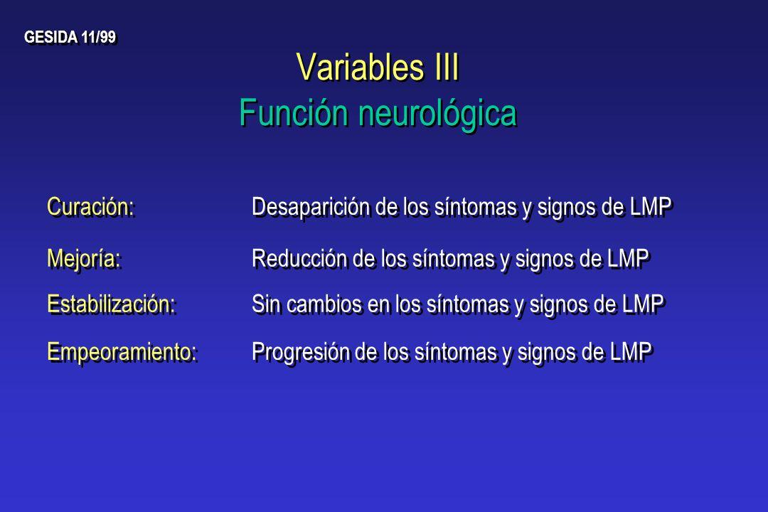 Variables III Función neurológica
