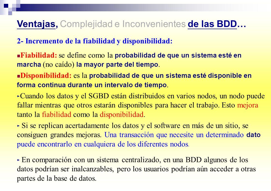 Ventajas, Complejidad e Inconvenientes de las BDD…