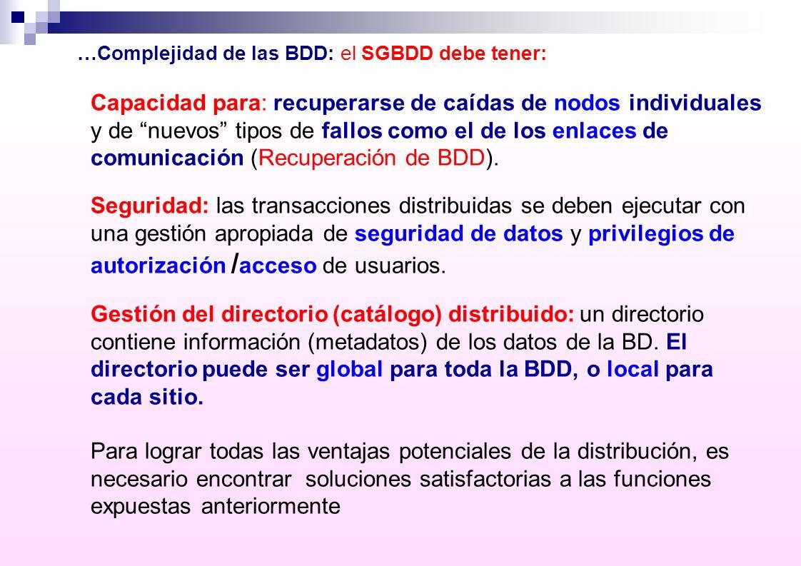…Complejidad de las BDD: el SGBDD debe tener: