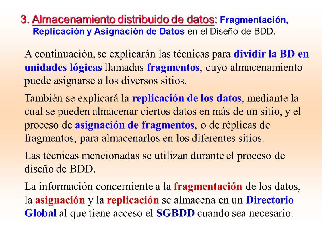 3. Almacenamiento distribuido de datos: Fragmentación,