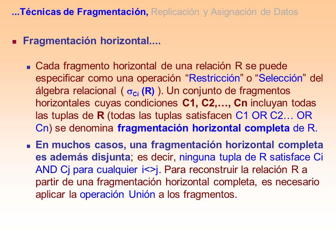 ...Técnicas de Fragmentación, Replicación y Asignación de Datos