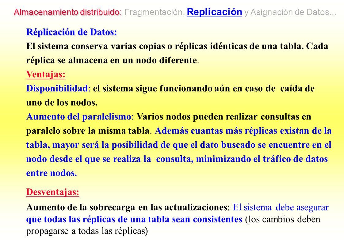 Almacenamiento distribuido: Fragmentación, Replicación y Asignación de Datos...