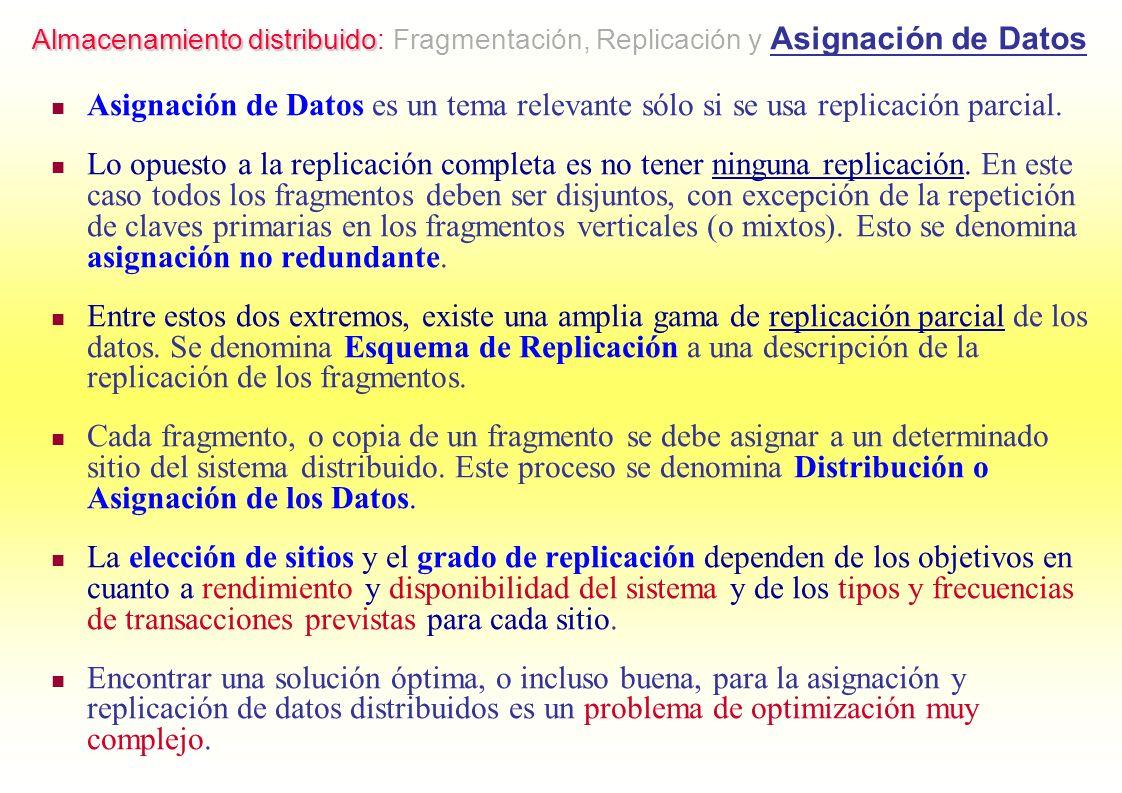 Almacenamiento distribuido: Fragmentación, Replicación y Asignación de Datos