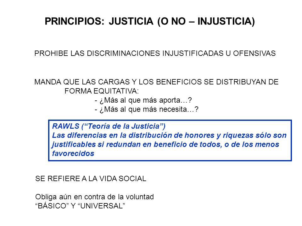 PRINCIPIOS: JUSTICIA (O NO – INJUSTICIA)