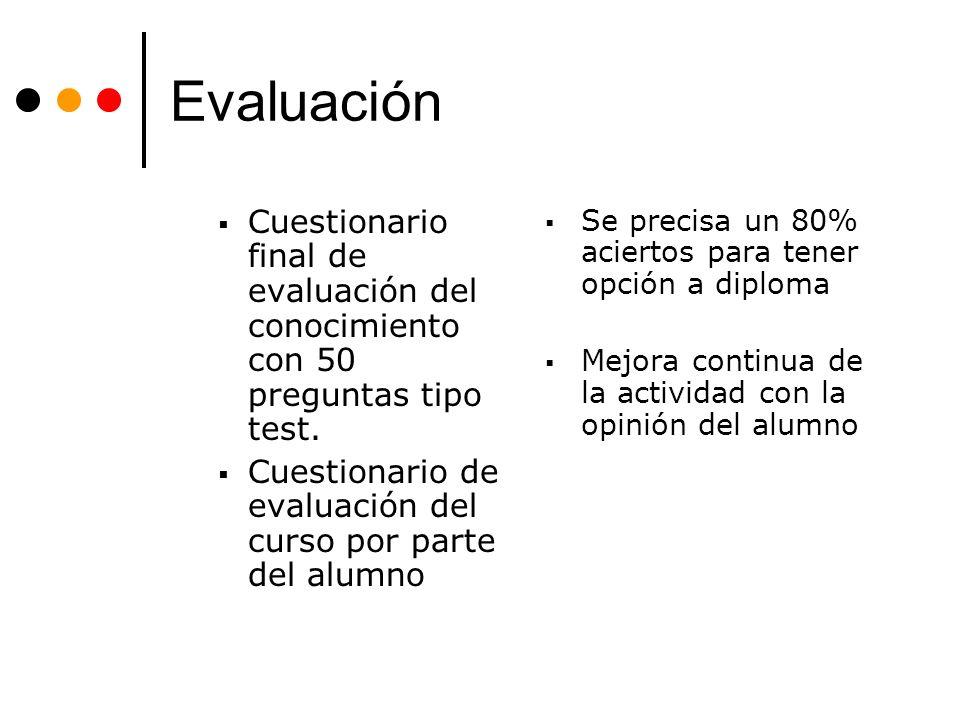 Evaluación Cuestionario final de evaluación del conocimiento con 50 preguntas tipo test. Cuestionario de evaluación del curso por parte del alumno.