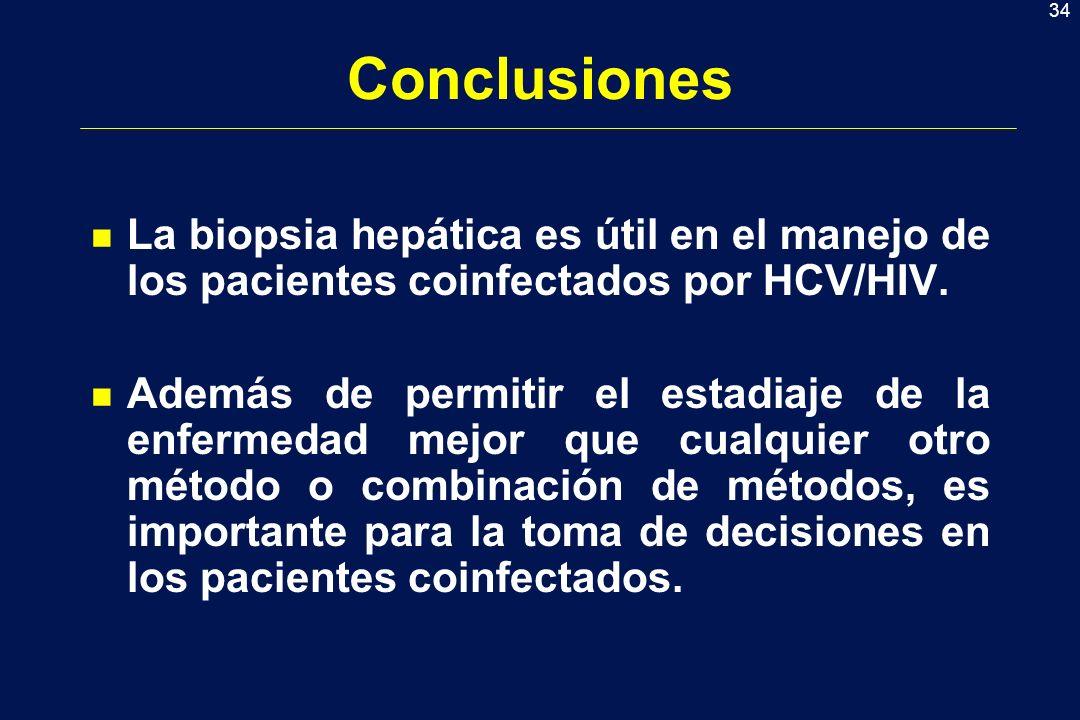 Conclusiones La biopsia hepática es útil en el manejo de los pacientes coinfectados por HCV/HIV.