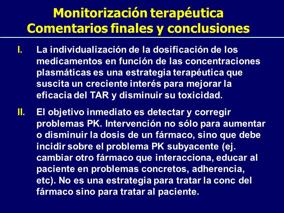 Monitorización terapéutica Comentarios finales y conclusiones