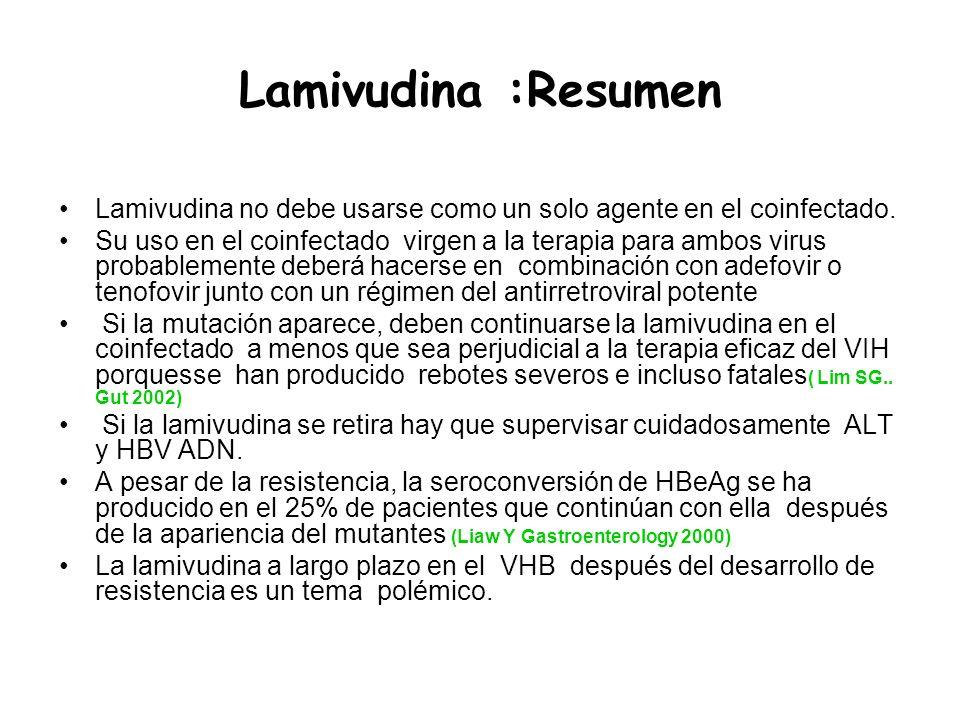 Lamivudina :Resumen Lamivudina no debe usarse como un solo agente en el coinfectado.