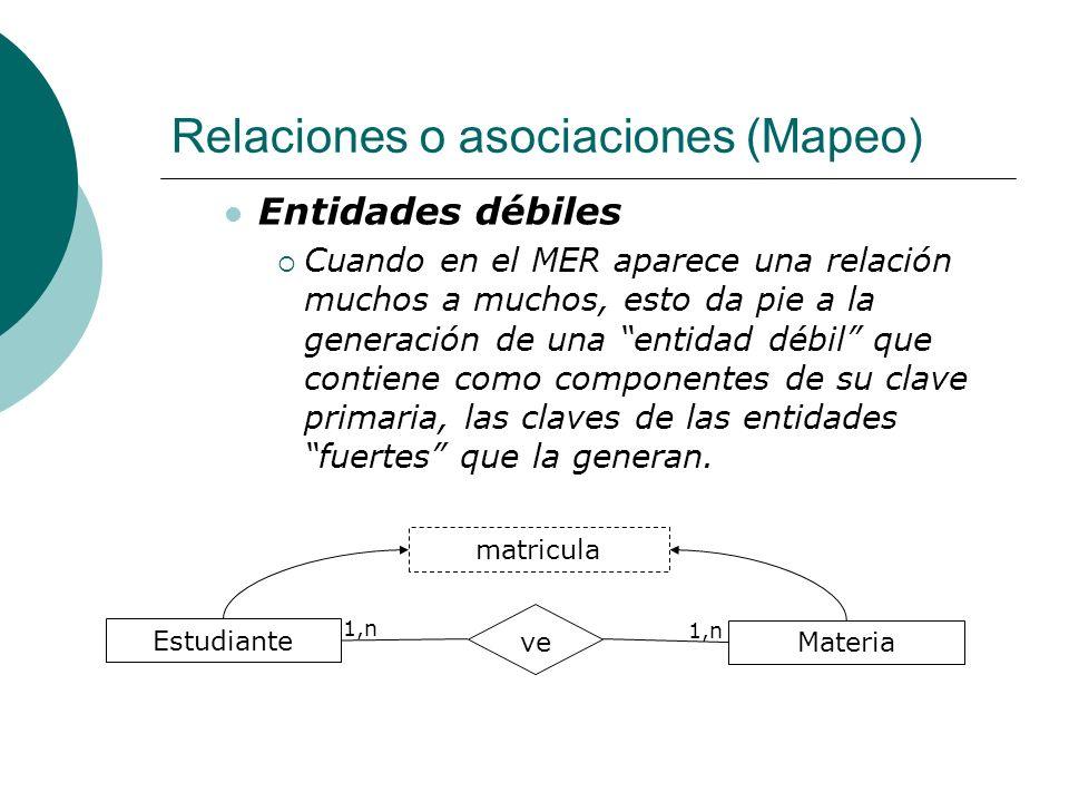 Relaciones o asociaciones (Mapeo)