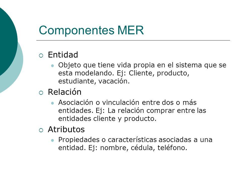 Componentes MER Entidad Relación Atributos