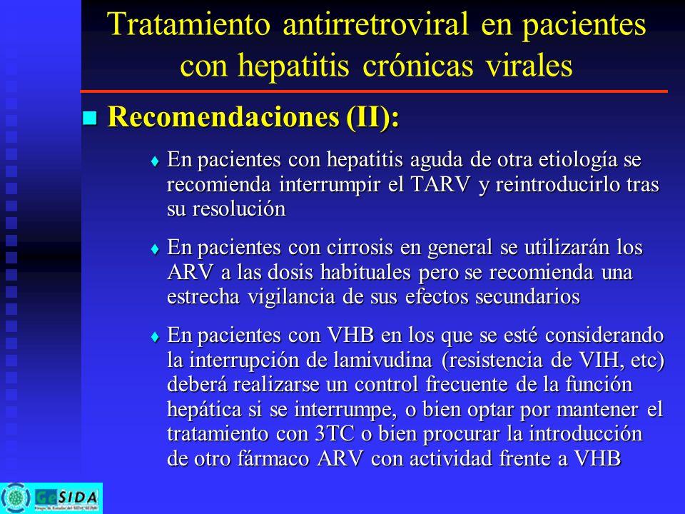 Tratamiento antirretroviral en pacientes con hepatitis crónicas virales