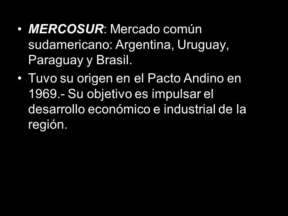 MERCOSUR: Mercado común sudamericano: Argentina, Uruguay, Paraguay y Brasil.