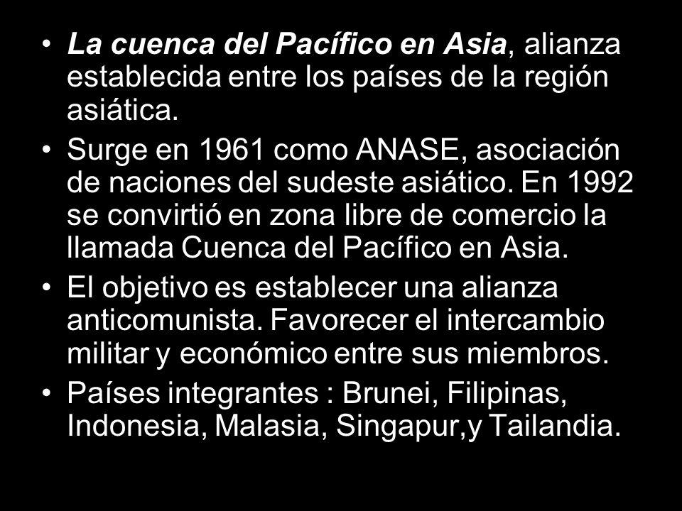 La cuenca del Pacífico en Asia, alianza establecida entre los países de la región asiática.