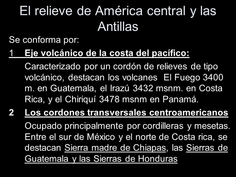 El relieve de América central y las Antillas