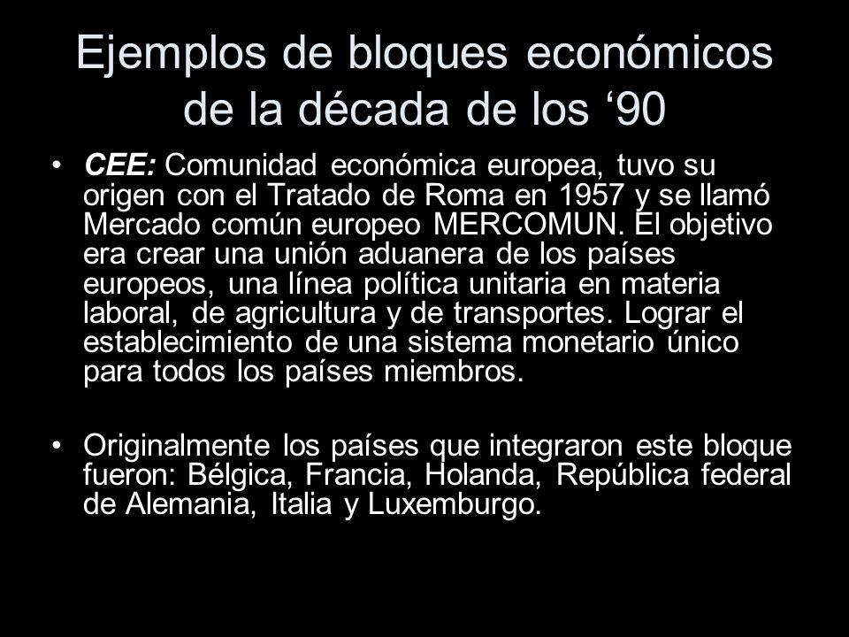 Ejemplos de bloques económicos de la década de los '90