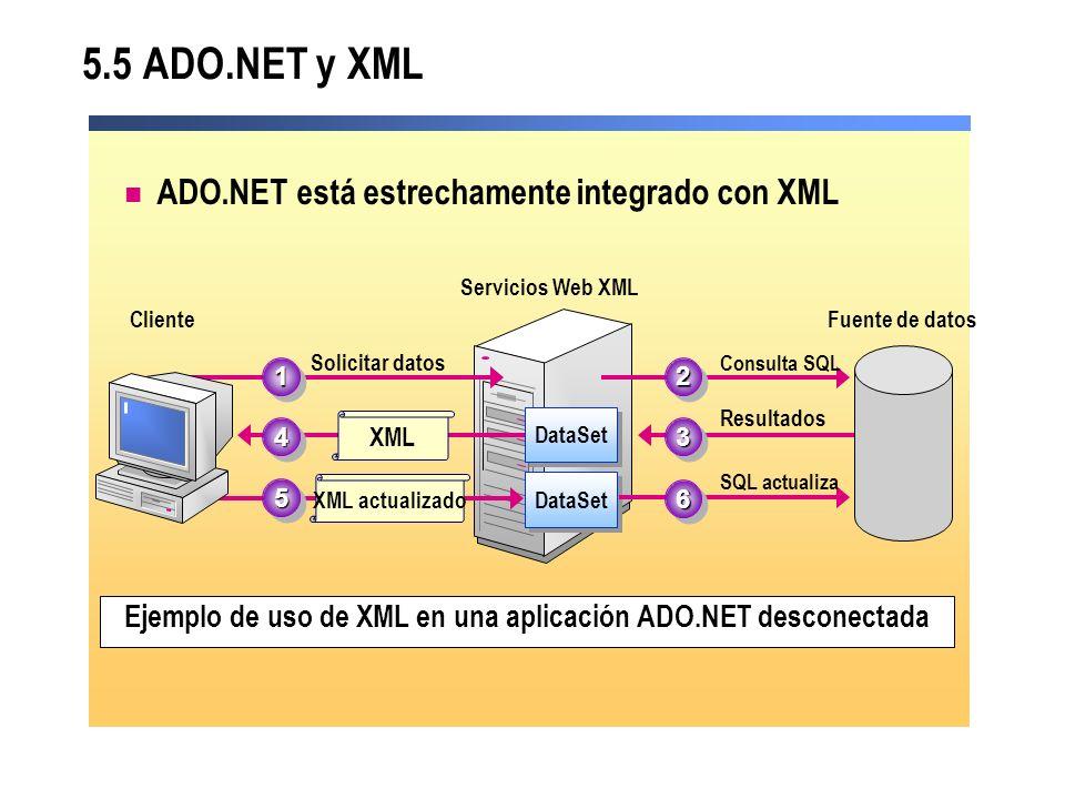Ejemplo de uso de XML en una aplicación ADO.NET desconectada
