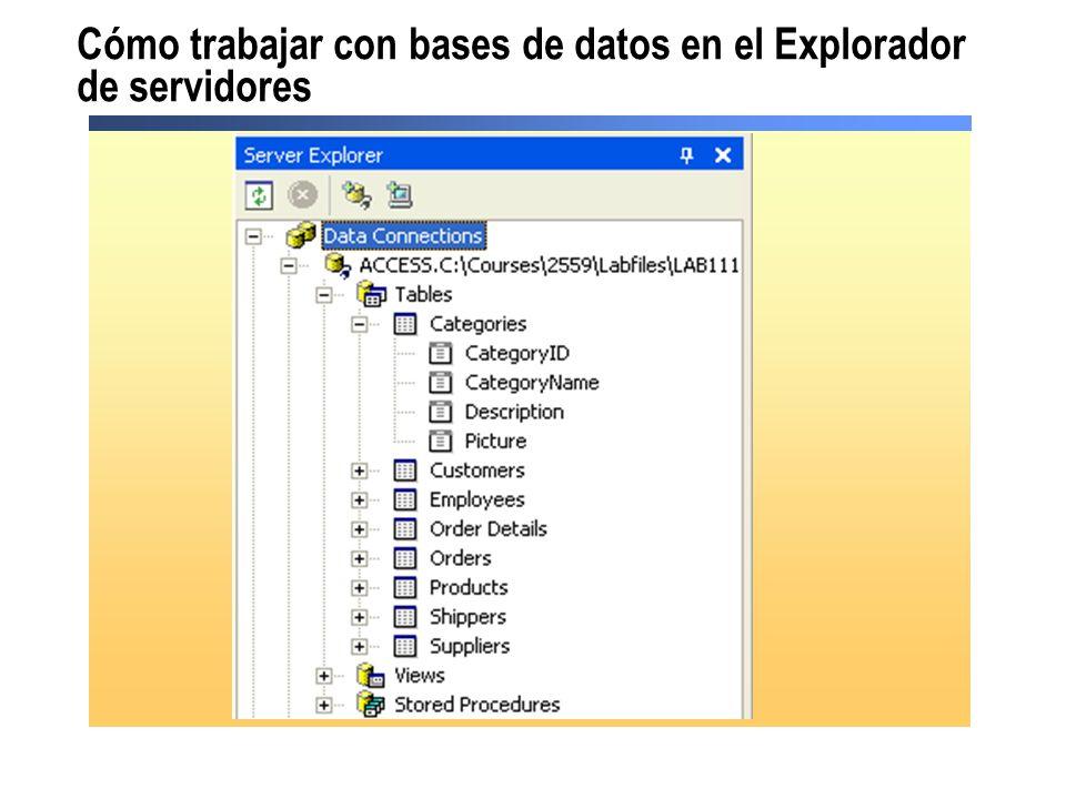 Cómo trabajar con bases de datos en el Explorador de servidores