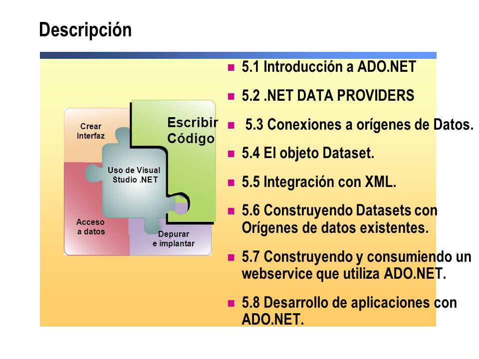 Descripción 5.1 Introducción a ADO.NET 5.2 .NET DATA PROVIDERS