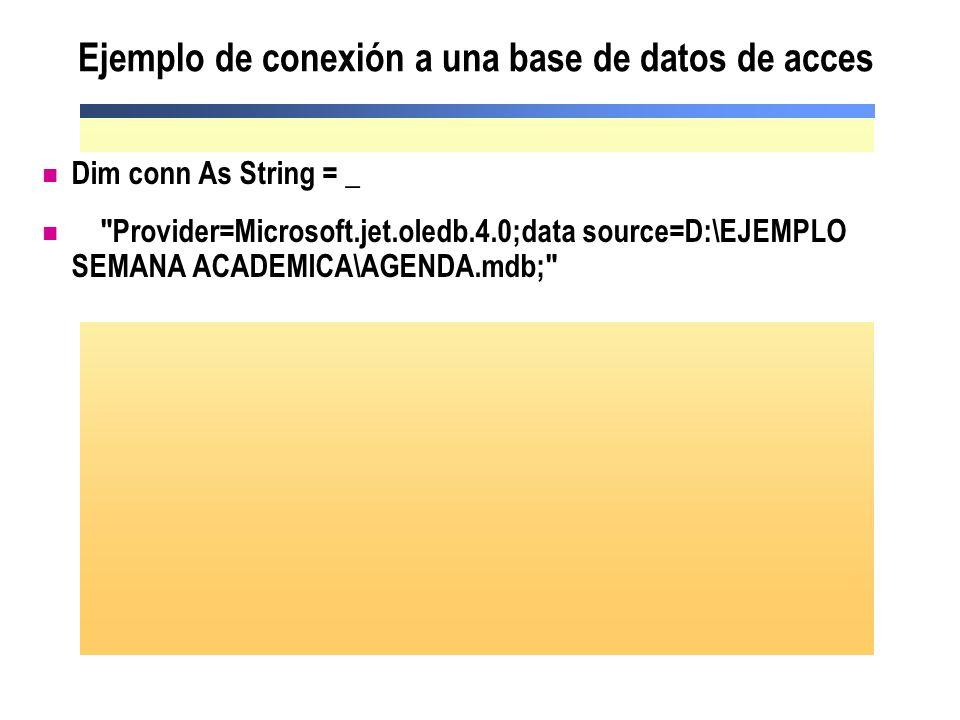 Ejemplo de conexión a una base de datos de acces