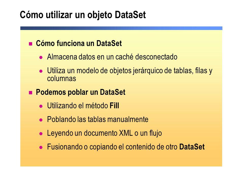 Cómo utilizar un objeto DataSet