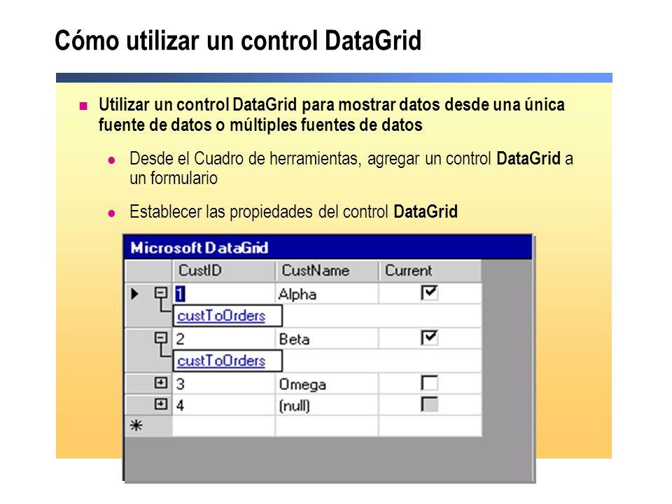 Cómo utilizar un control DataGrid