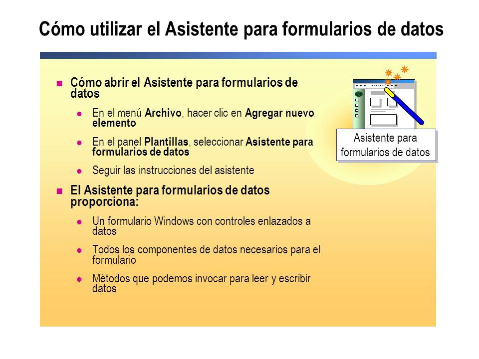 Cómo utilizar el Asistente para formularios de datos