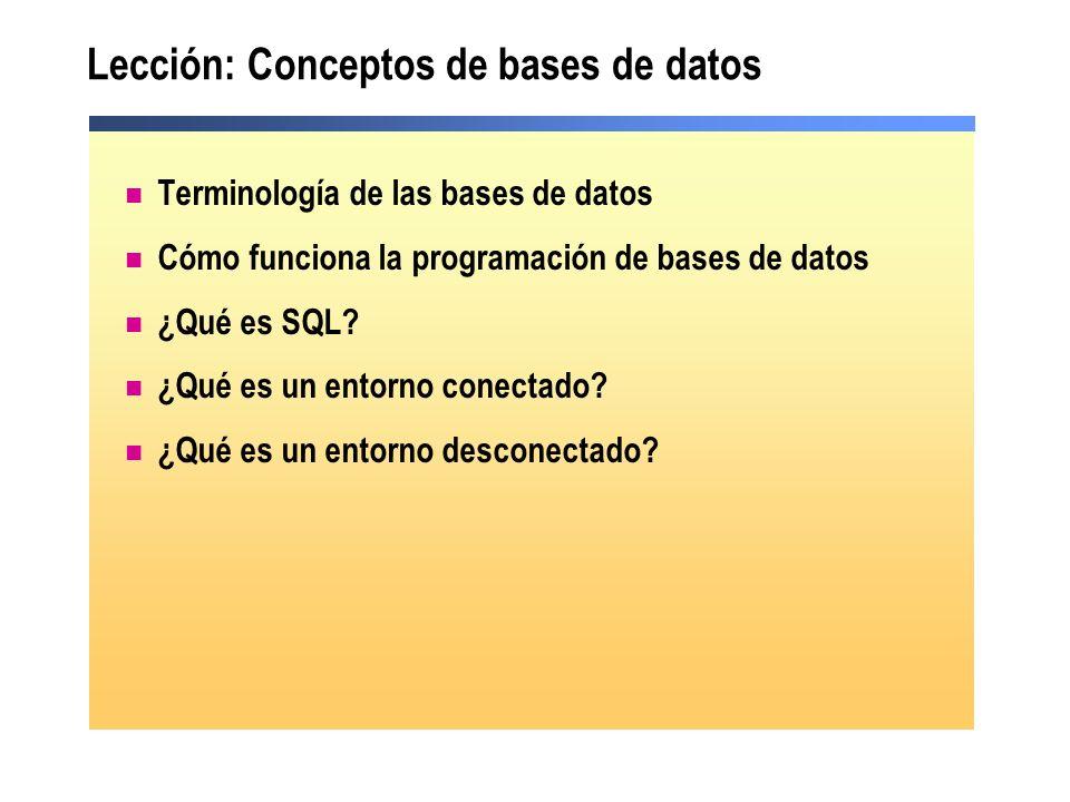 Lección: Conceptos de bases de datos