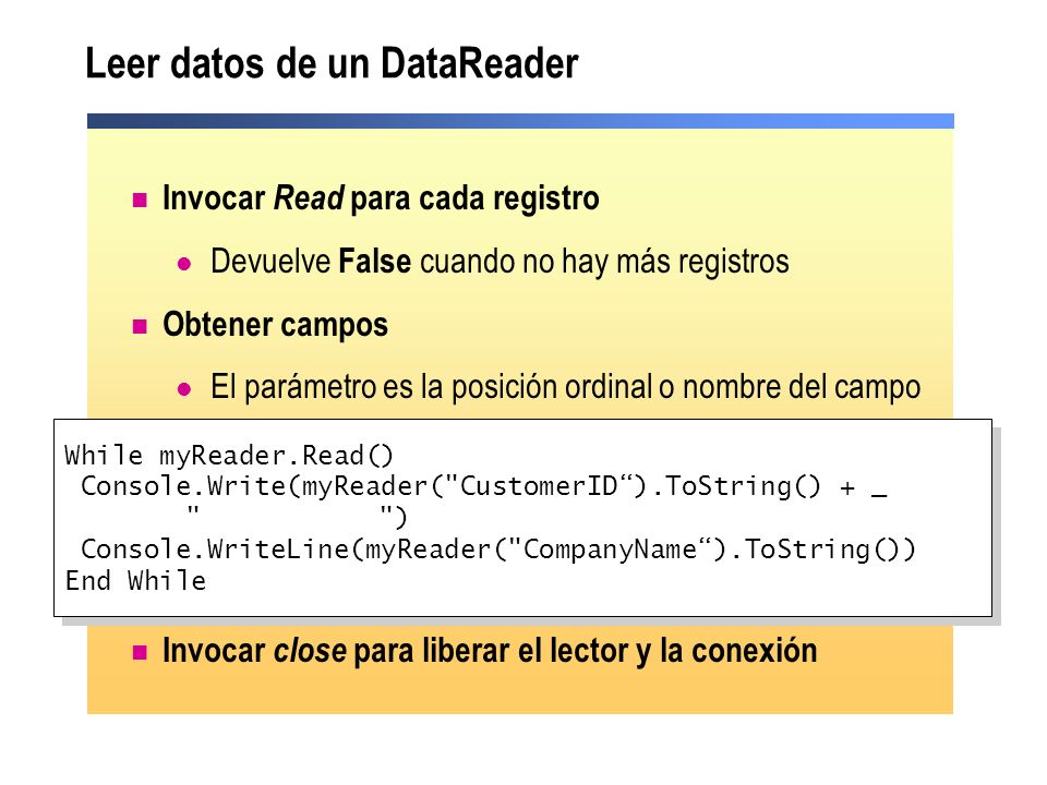 Leer datos de un DataReader