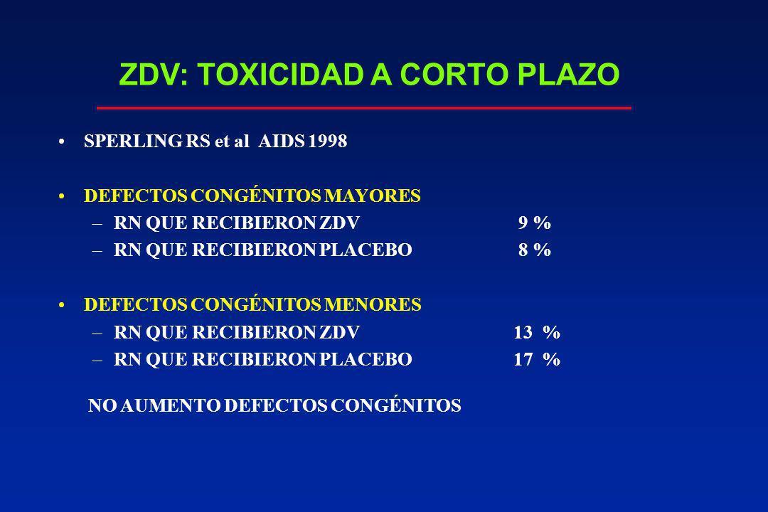 ZDV: TOXICIDAD A CORTO PLAZO