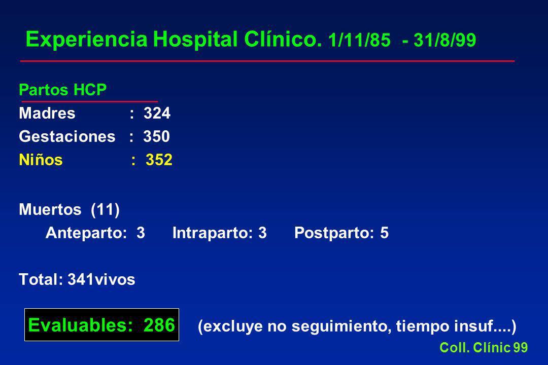 Experiencia Hospital Clínico. 1/11/85 - 31/8/99