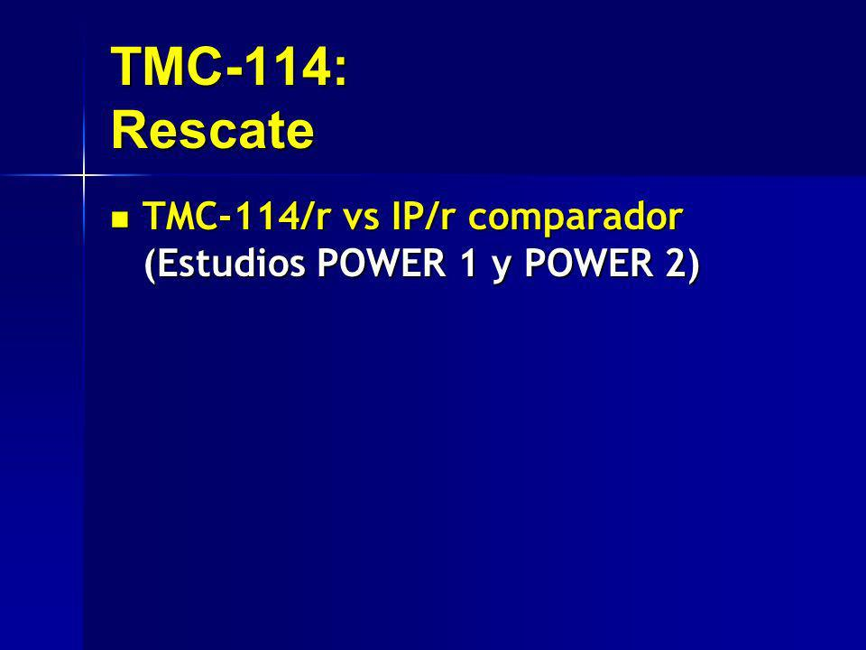 TMC-114: Rescate TMC-114/r vs IP/r comparador (Estudios POWER 1 y POWER 2)