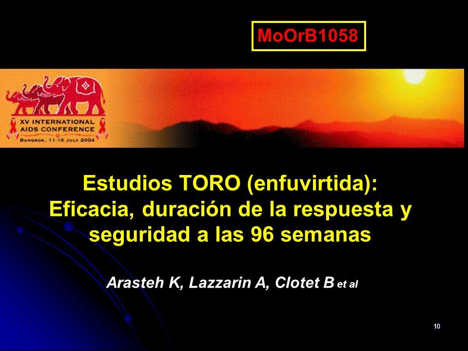 MoOrB1058Estudios TORO (enfuvirtida): Eficacia, duración de la respuesta y seguridad a las 96 semanas.