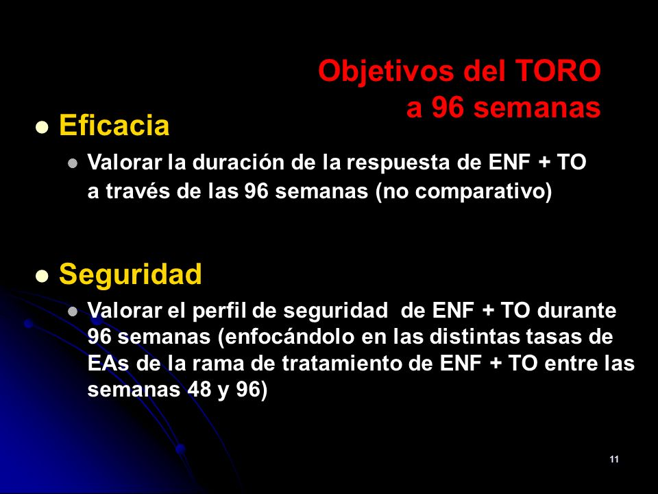 Objetivos del TORO a 96 semanas