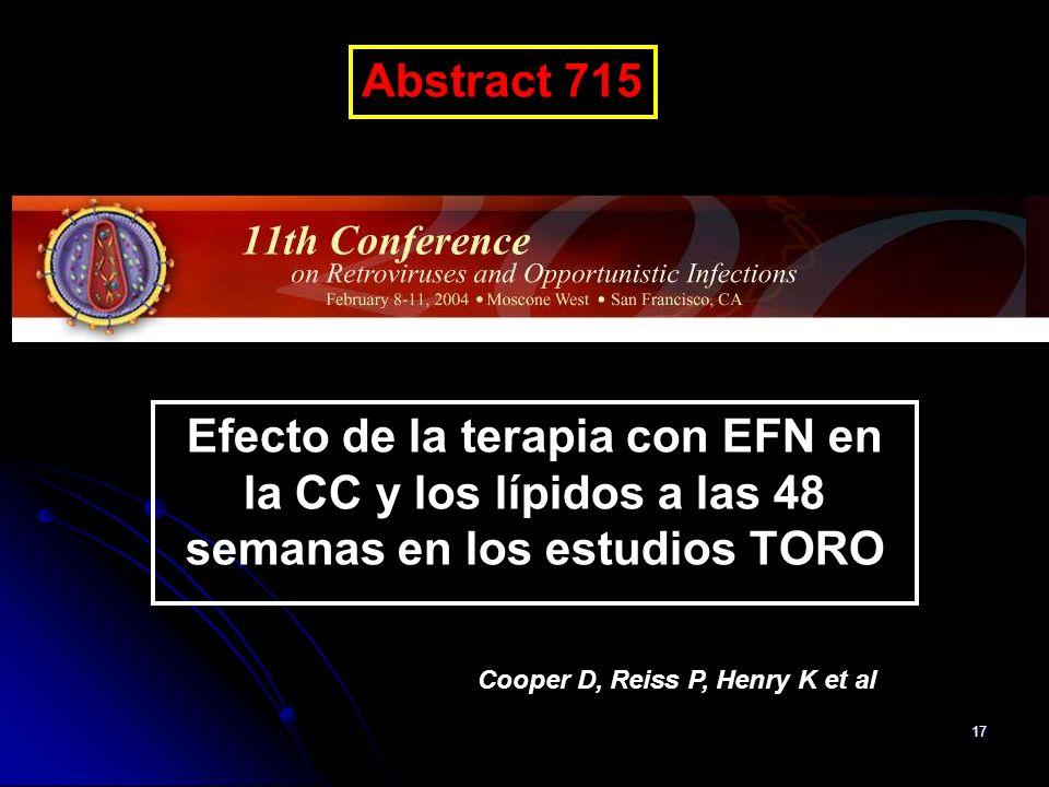 Abstract 715 CROI-04. Efecto de la terapia con EFN en la CC y los lípidos a las 48 semanas en los estudios TORO.