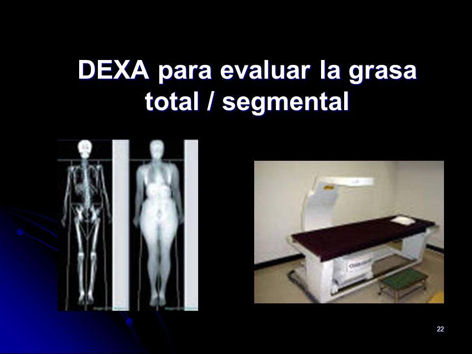 DEXA para evaluar la grasa total / segmental