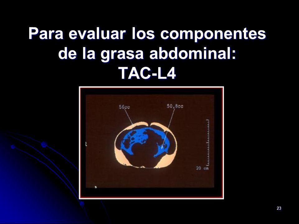 Para evaluar los componentes de la grasa abdominal: TAC-L4